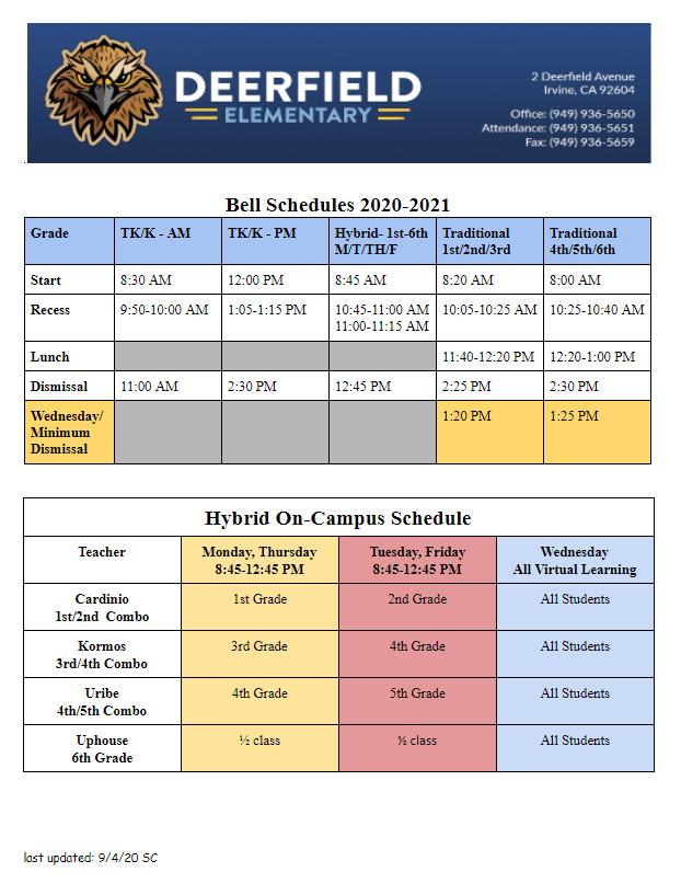 2020-2021 Bell Schedule